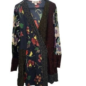DVF Long Sleeve Surplice Polka Dot Floral Medium